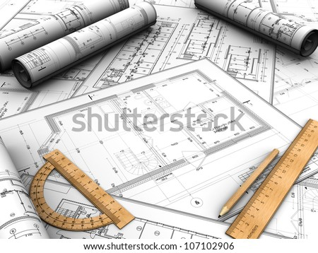 Modern design plan with pencil and rules on it - stock photo