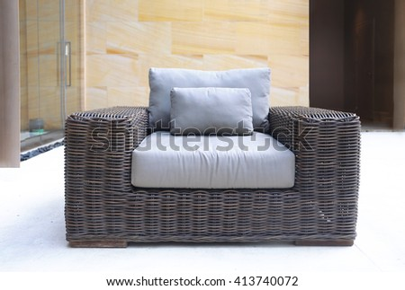 modern design rattan chair - stock photo