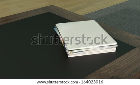 modern design wooden table with stack of magazines on the top