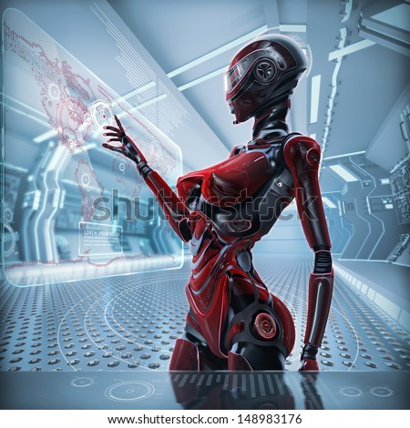 Modern designed datacenter. Futuristic female android managing virtual interface in digital space - stock photo