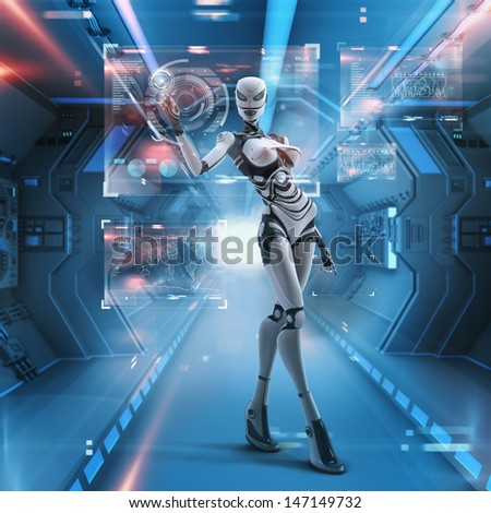 Modern designed space. Futuristic female android managing virtual interface in digital space - stock photo