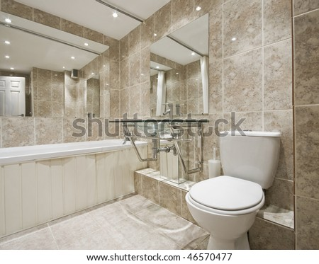 modern designer bathroom with stone imitation ceramic tiles - stock photo