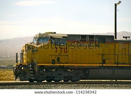 Modern Diesel Locomotive in Mojave, California. California Railroad Photo Theme. Transportation Photo Collection. - stock photo