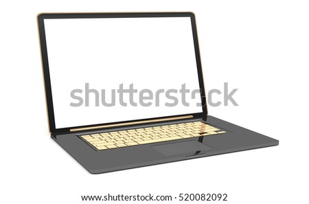 Modern digital black and gold laptop whith blank screen 3D rendering