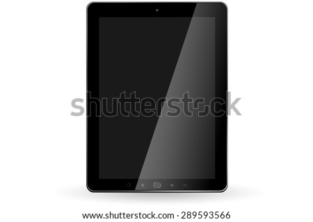 Modern digital black tablet on white background