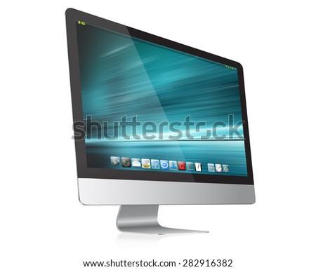 Modern digital computer device on white background - stock photo