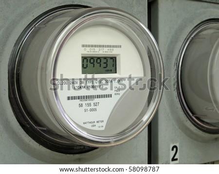 Modern digital  electric meter - stock photo