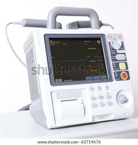 Modern digital emergency defibrilator equipment - stock photo