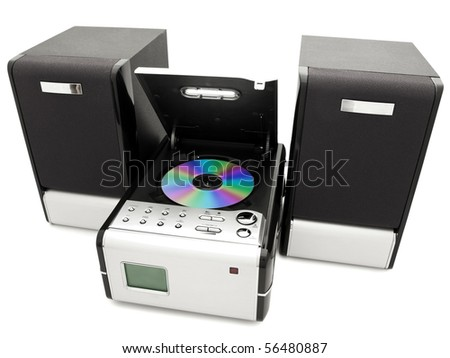 modern digital opened cd player against the white background - stock photo