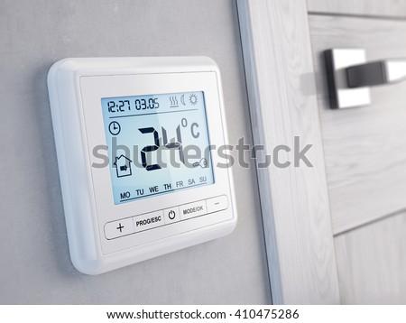 Modern digital programmable Thermostat - 3d render - stock photo