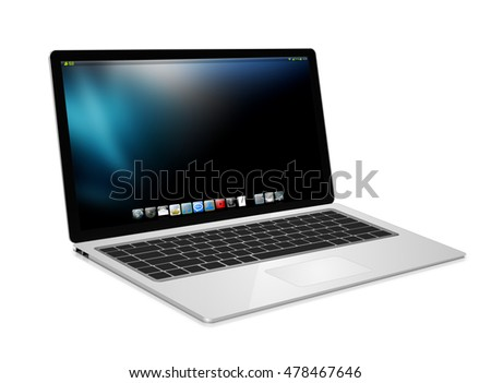 Modern digital silver and black laptop on white background 3D rendering