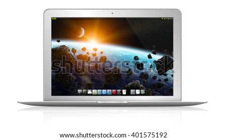 Modern digital silver and black laptop on white background 'elements of this image furnished by NASA'