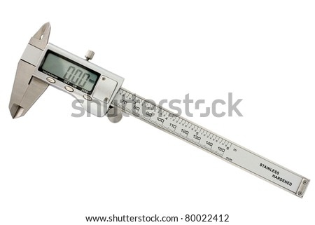 Modern digital slide caliper, display 0 mm - stock photo