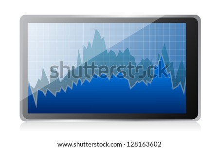 Modern digital tablet computer with stock market application illustration - stock photo