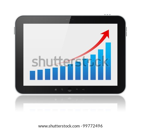 Modern digital tablet PC showing success growth chart on a screen. Isolated on white. Include clipping path for tablet and screen. - stock photo