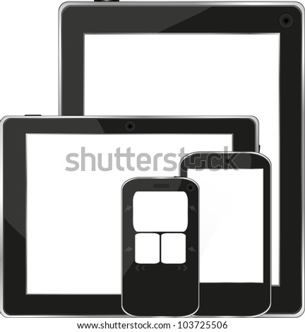 Modern digital tablet PC with mobile smart phone isolated on white - raster - stock photo