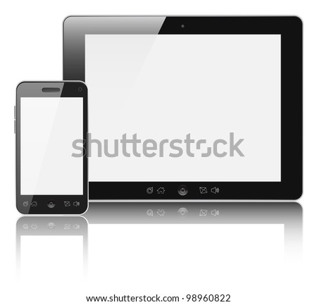 Modern digital tablet PC with mobile smartphone isolated on white - stock photo