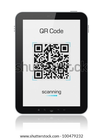 Modern digital tablet showing quick response code pattern scanner on the screen. Include clipping path for tablet and screen. - stock photo