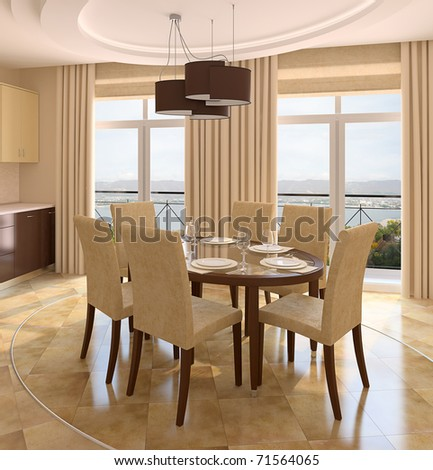 Modern dining-room interior. 3d render. Photo behind the window was made by me. - stock photo