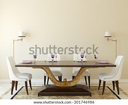 Modern dining-room interior.3d rendering. - stock photo
