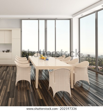 Modern dining room interior in an apartment or house with a wicker suite on a parquet floor and large view windows overlooking a city - stock photo