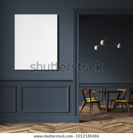 Modern dining room interior with gray walls, a wooden floor and a wooden table chairs. A doorway and a poster. 3d rendering mock up