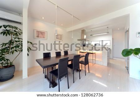 Modern dining room side position 2-1 - stock photo