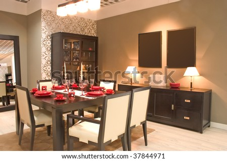 Modern dining room with furniture. - stock photo