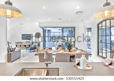 counter between kitchen and living room modern dining room kitchen counter top stock photo edit 24636