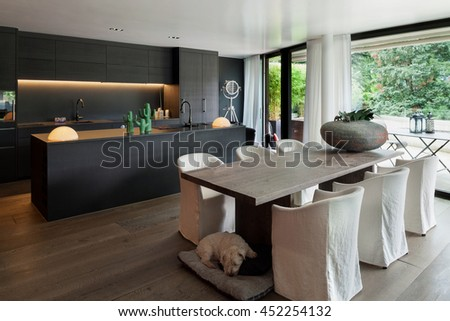 Modern dining room with table and floor hardwood