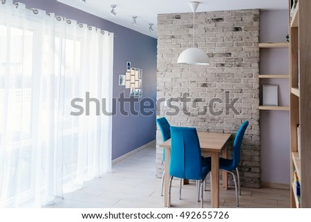 Modern Dining Room Wooden Table Turquoise Stock Photo 384610300