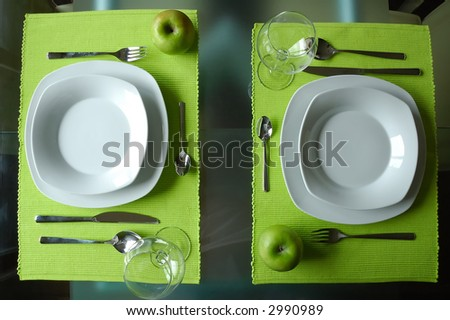 Modern dining set for two - stock photo