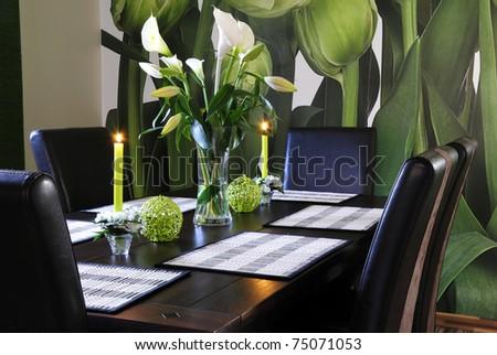 Modern dinning room decoration - stock photo
