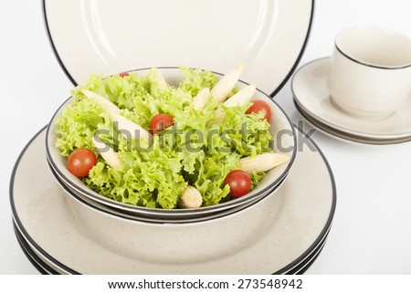 modern dishes with black line on white background - stock photo