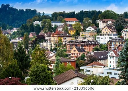 Modern district of Lucerne in Alpes, Switzerland - stock photo