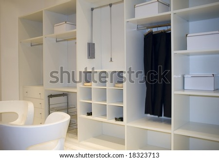 modern dressing room interior detail - stock photo