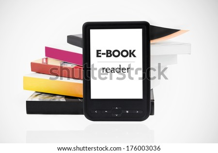 Modern e-book reader with books in background - stock photo