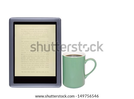 Modern e reader and coffee cup. Need caffeine. Digital tablet, blurry words on screen. Green coffee mug, black hot beverage. Horizontal photo. Isolated on a white background. Room for text, copy space - stock photo