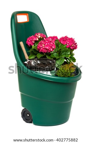Modern easy go plastic gardening wheelbarrow full of plants, flowers and some potting soil - isolated on white and with clipping path - stock photo