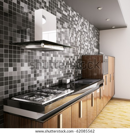 Modern ebony wood kitchen with sink,gas cooktop and hood interior 3d - stock photo