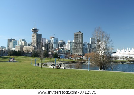 Modern Eco City on Waterfront - stock photo