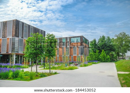 Modern educational/office building on campus. Klagenfurt. Austria - stock photo
