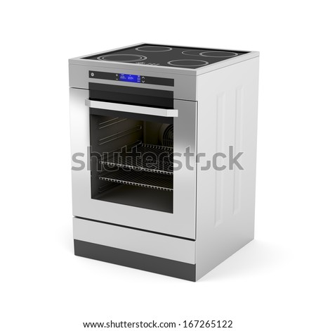 Modern electric cooker on white background - stock photo