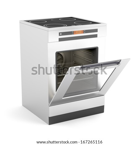 Modern electric stove with opened door on white background - stock photo