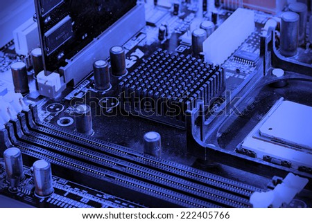 Modern electronic board. Motherboard close-up