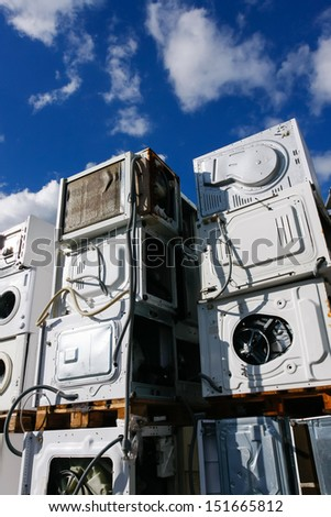 Modern electronic life waste for recycling or safe disposal, any logos and brand names have been removed. Great for recycle and environmental themes. - stock photo