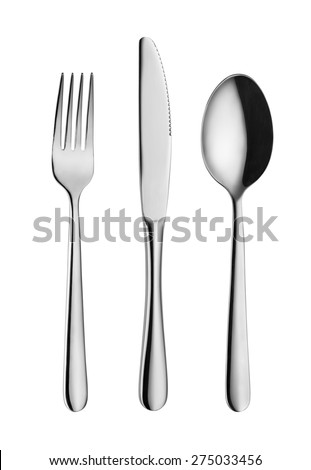 Modern, elegant fork, spoon and knife isolated on white with clipping path - stock photo