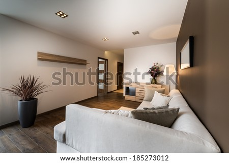 Modern, elegant living room in brown color  - stock photo