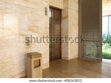 Modern elevator in a  building - stock photo
