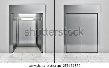 Modern elevator set - stock photo